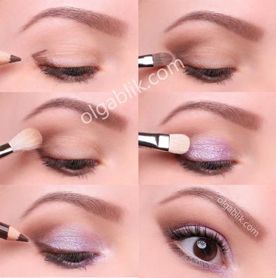 Пошаговый макияж для голубых глаз.