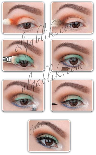 Поэтапный макияж: цветные Смоки Айс