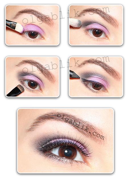 макияж в фиолетовых тонах пошаговое фото