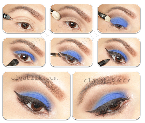 Пошаговый макияж с голубыми тенями для карих глаз