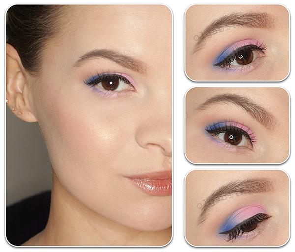 Макияж с розовыми и голубыми тенями