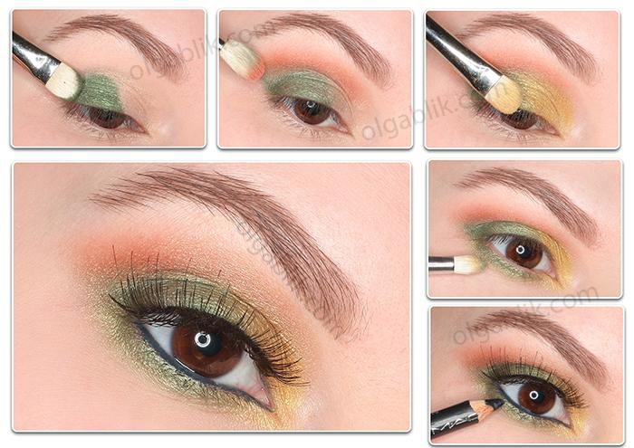 Новогодний макияж с зелеными тенями - поэтапно фото-урок
