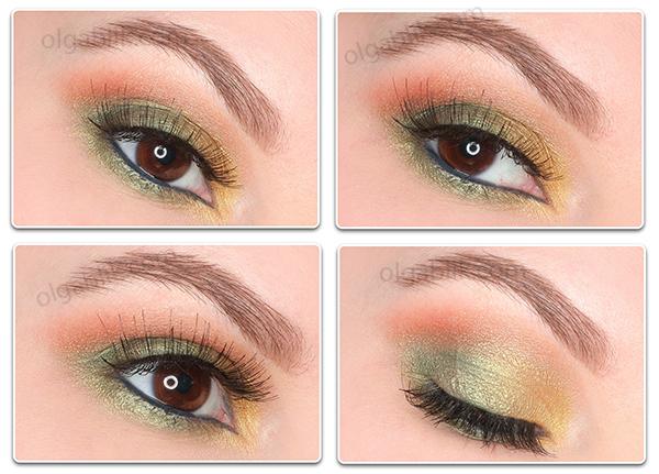 Новогодний макияж с зелеными тенями