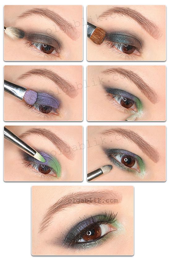 Пошаговый макияж глаз c рассыпчатыми тенями