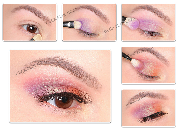 Фиолетово-золотой макияж для карих глаз
