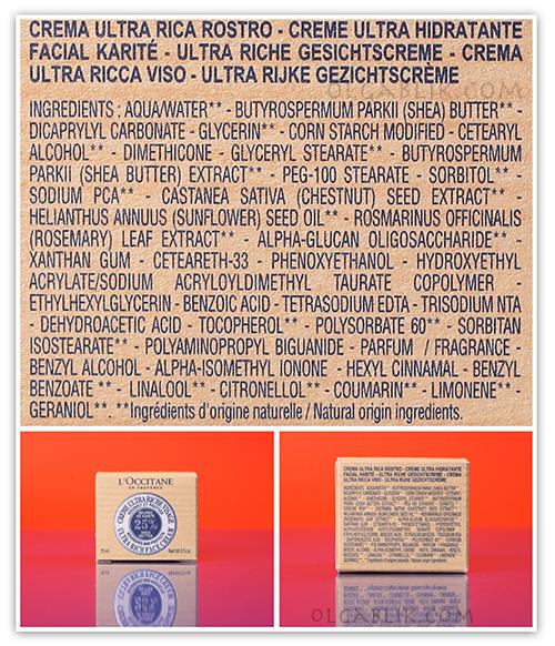 L'Occitane состав Ультра-Питательный Крем Карите Shea Butter Ultra Rich Face Cream