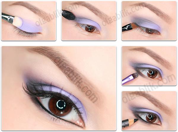 Лавандовый макияж глаз пошагово