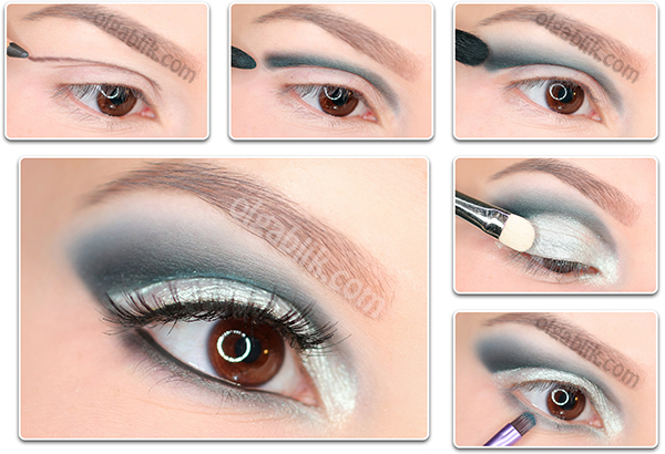 How to Apply blue and white eyeshadow