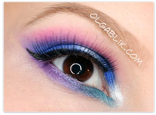 Urban Decay Electric Pressed Pigment Palette tutorial, пошаговый макияж, фото урок, для карих глаз