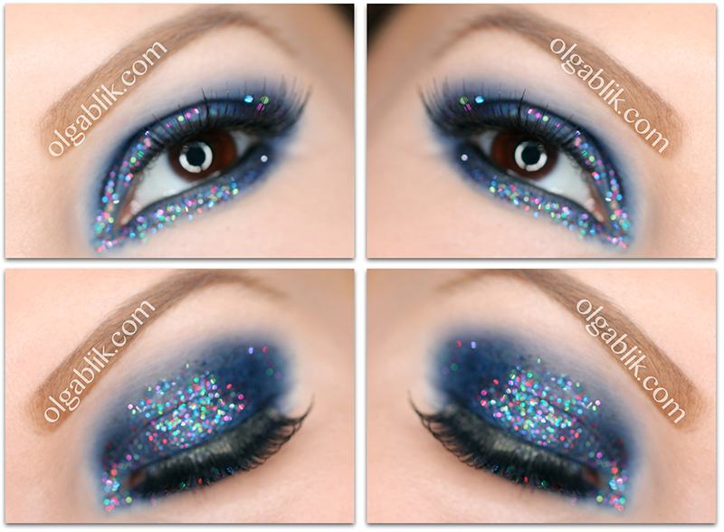 Black glitter makeup