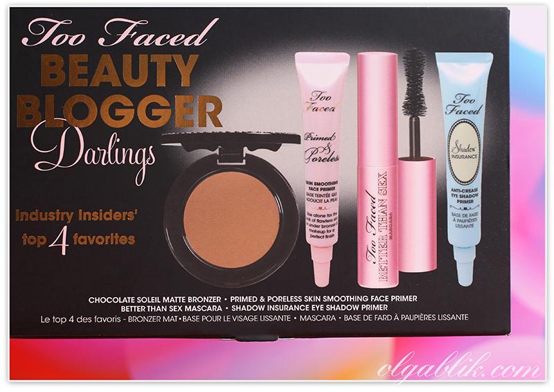 Too Faced Beauty Blogger Darlings Set, Косметика Too faced/Ту фейст: тушь для ресниц, база под макияж, праймер для глаз, матовый бронзер. Отзывы. Фото.