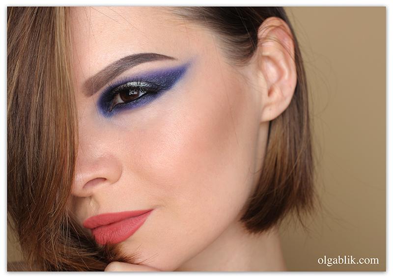 Blue smoky eyes step by step, Синий Смоки Айс, Фото, Пошагово, Макияж