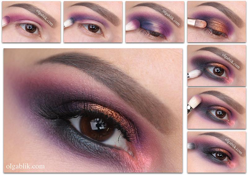 Colorful Smokey Eyes Makeup Tutorial, Пошаговый макияж, Colorful Smoky eyes, Цветной