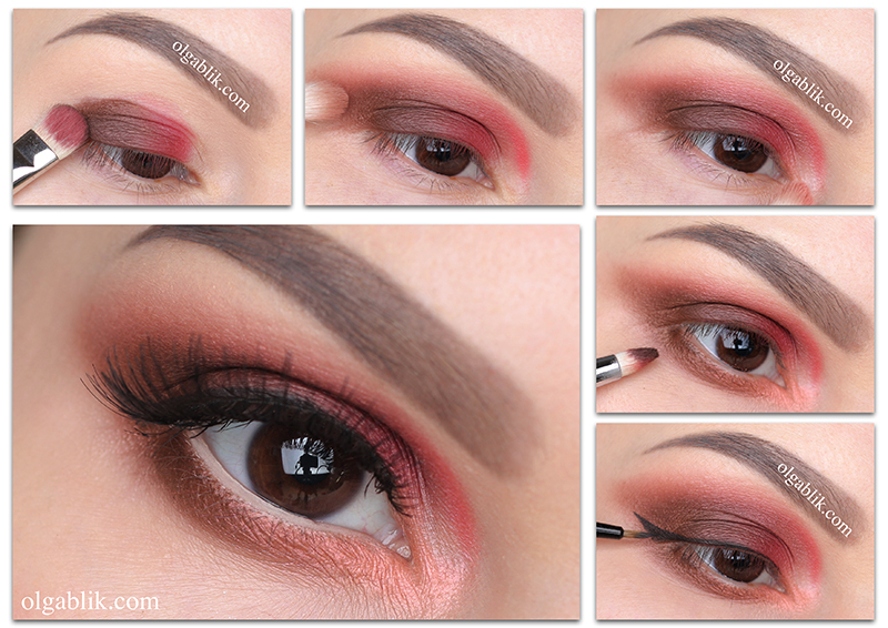 Коралловый цвет в макияже глаз