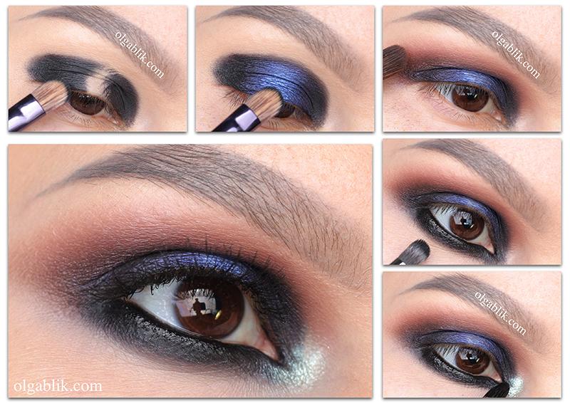 Макияж глаз с синим акцентом