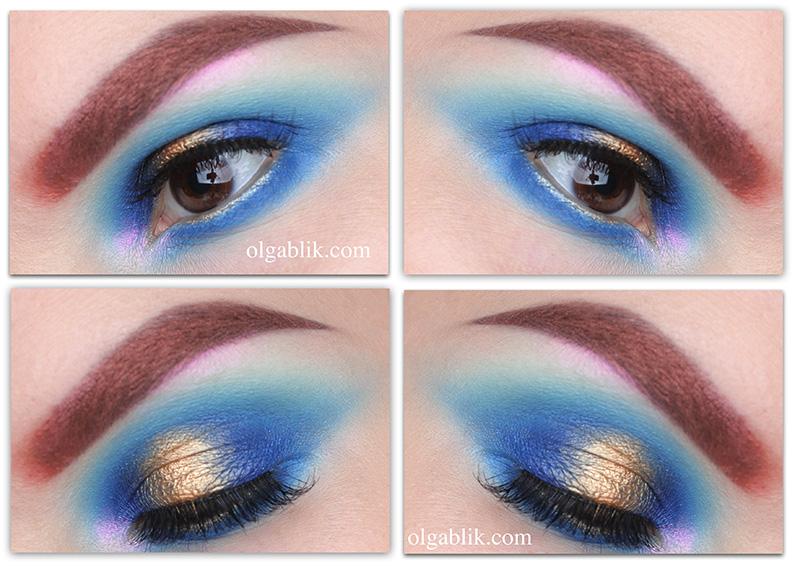 Blue Eyeshadow Makeup Tutorial, Цветной макияж, H&M Beauty Precious Glow for Fall 2016