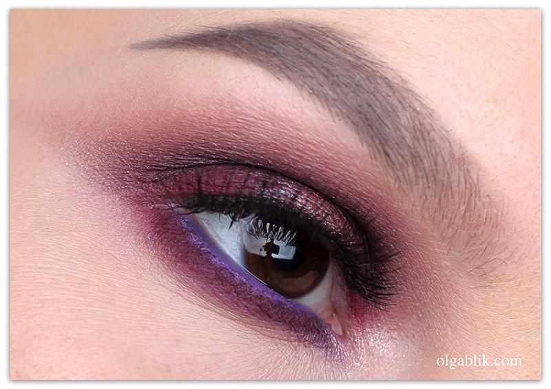 макияж глаз в бордовых тонах