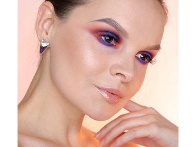 Цветной макияж глаз — Закат и Пошаговая фото-инструкция
