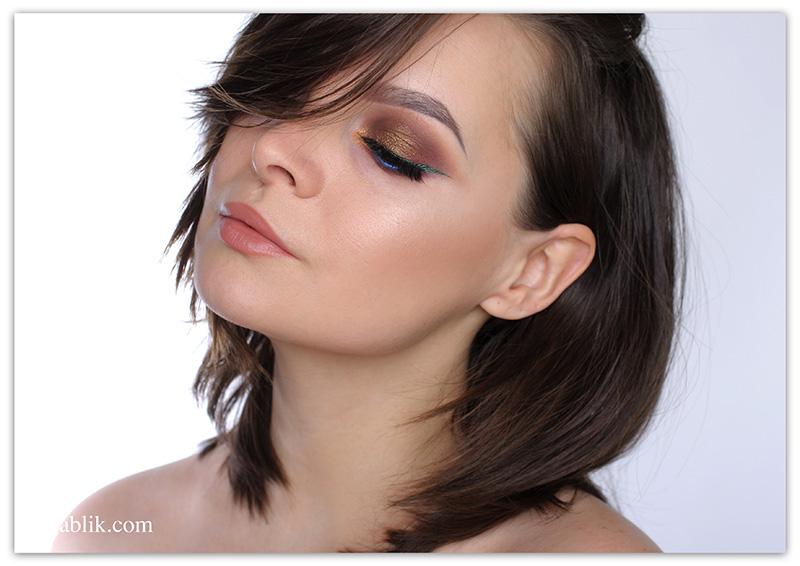 natasha-denona-star-eyeshadow-palette-makeup-tutorial, дневной макияж, цветные стрелки, фото