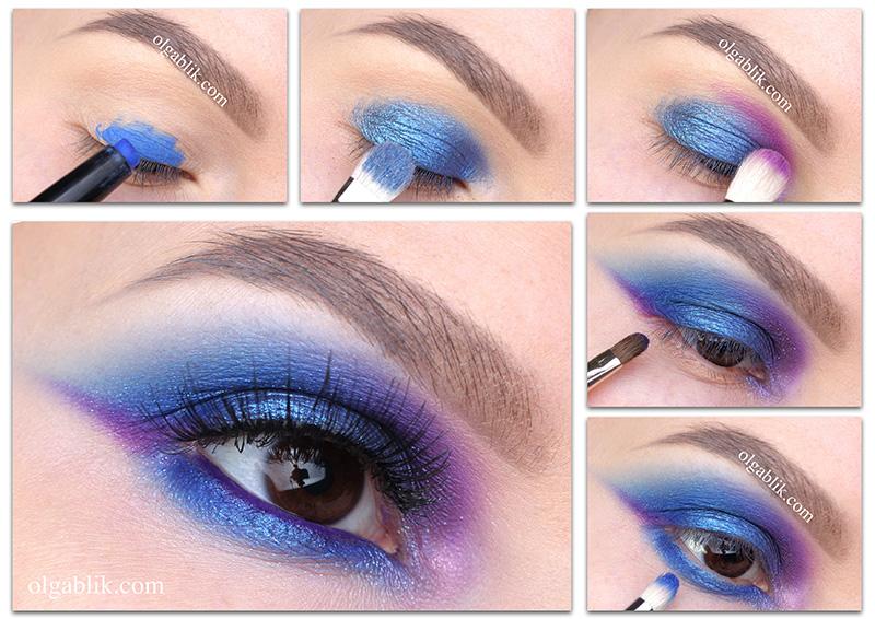 Макияж глаз в сине фиолетовых тонах