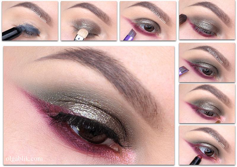 макияж с блестящими тенями