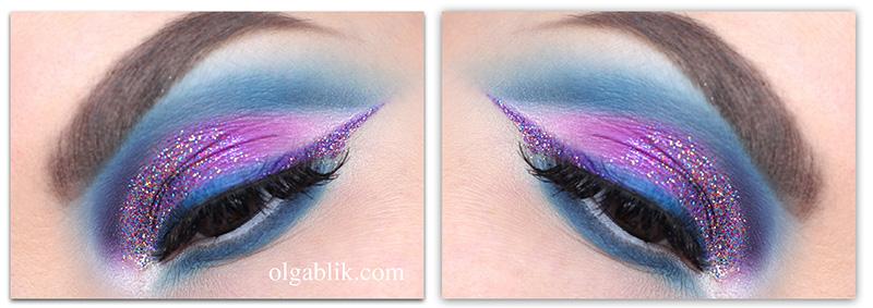 Необычный макияж глаз с блестками