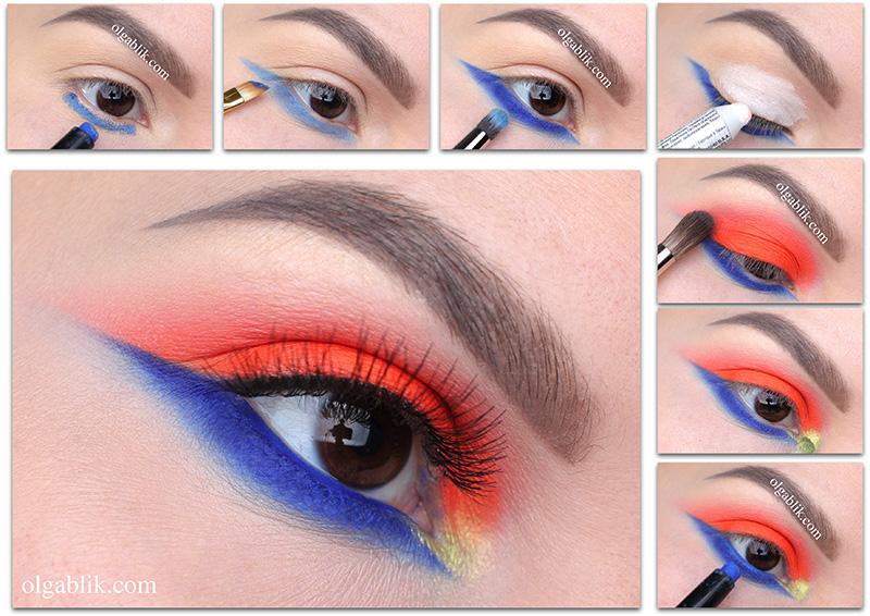 Как сделать макияж глаз синим карандашом