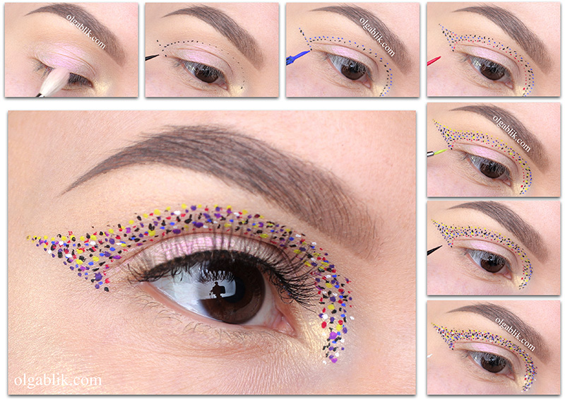 макияж с точками на лице