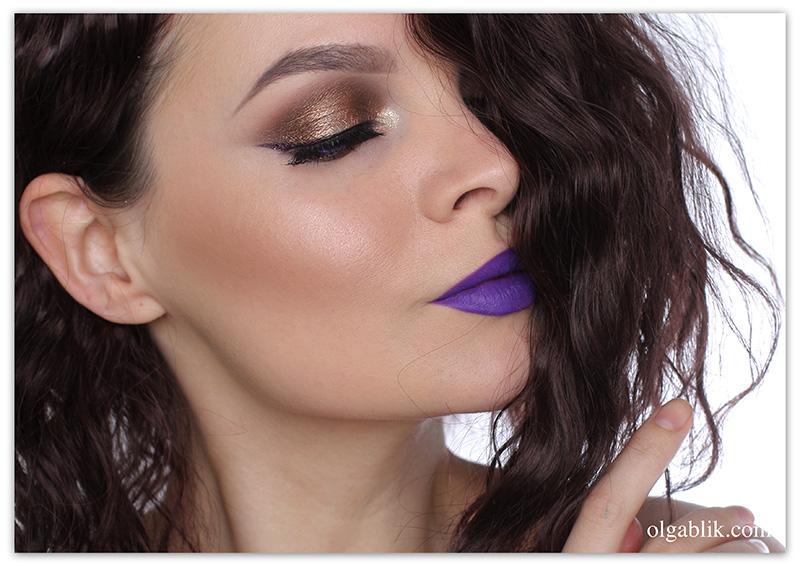 Макияж с фиолетовой помадой