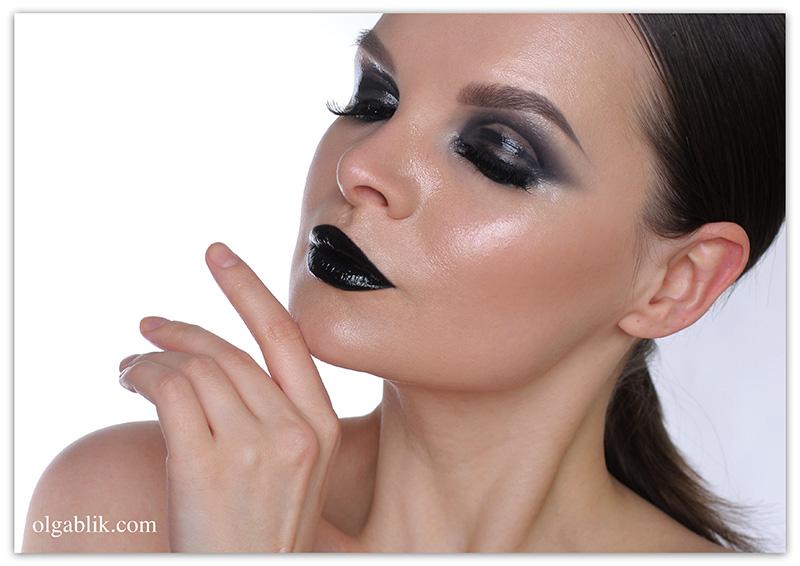 Glossy Black Smokey Eyes, влажный макияж глаз, мокрый макияж, фото