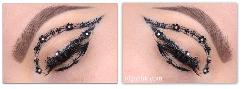 Flower_eye_makeup, черные стрелки, фото, макияж
