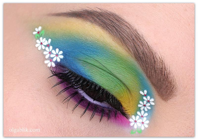 #7days_of_Flower_eye_makeup, макияж с цветами, фото, цветной макияж
