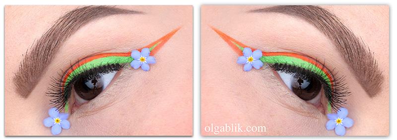 #7days_of_Flower_eye_makeup, стрелки, макияж, цветной макияж глаз, фото