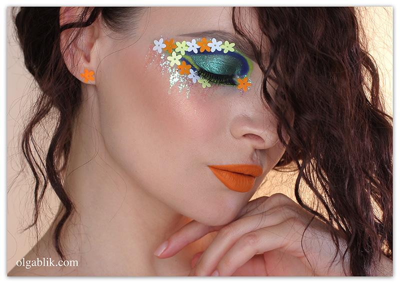 Flower eye makeup, макияж с цветами, цветной макияж, фото