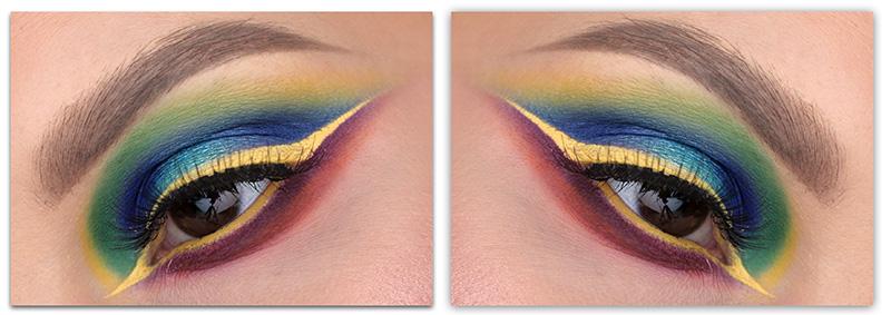Colorful Liner Look, цветные стрелки, фото, макияж для карих глаз