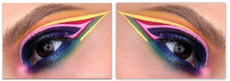 Colorful Smoky eyes Makeup Look, цветной макияж с цветными стрелками