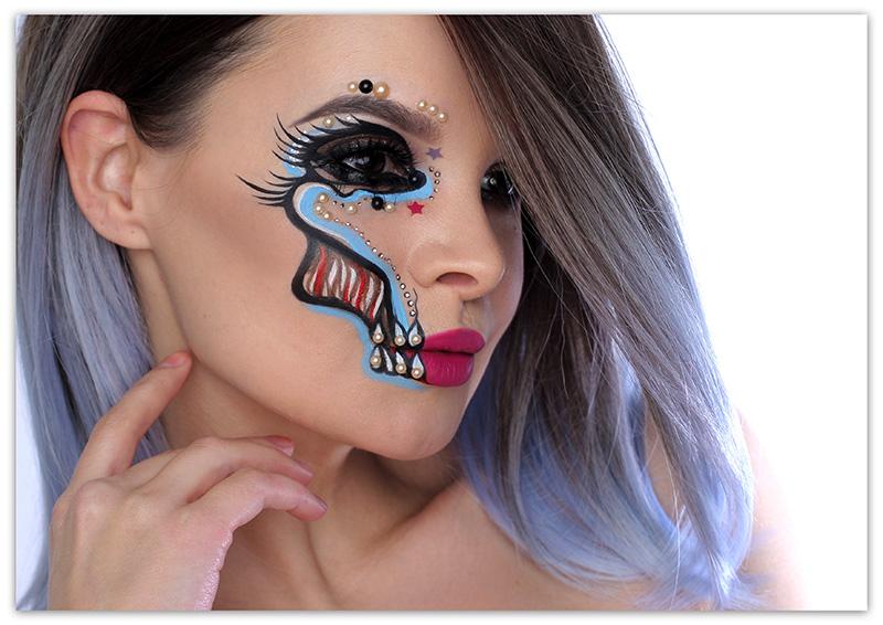 Glamour Skull Halloween Makeup, простой макияж на хэллоуин, фото