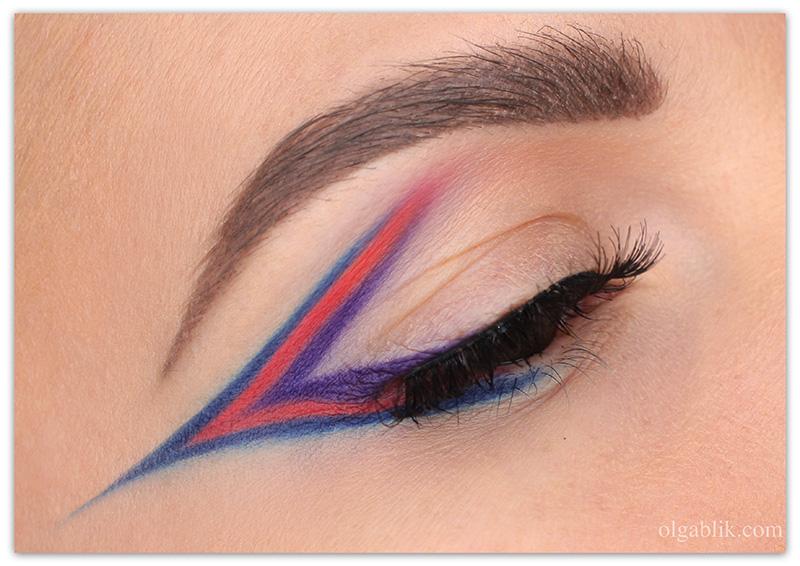 Winged Eyeliner Using Eyeshadow, Цветные стрелки из теней, фото, макияж