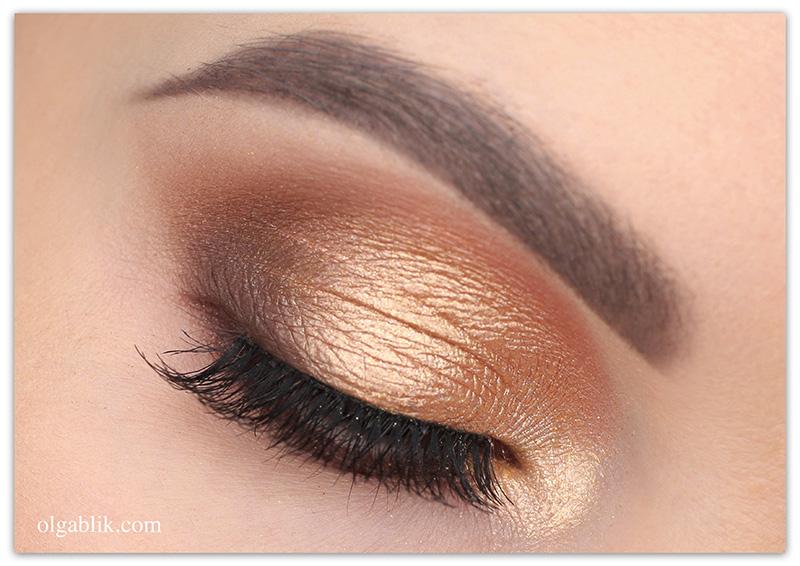 Дневной макияж глаз с золотыми тенями пошагово