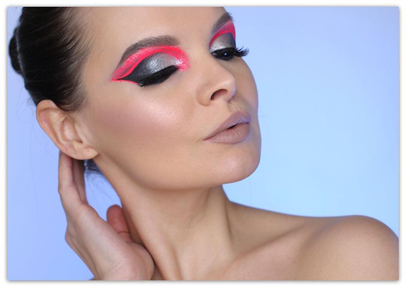 Неоновый макияж, неоновая косметика, неоновый макияж глаз фото