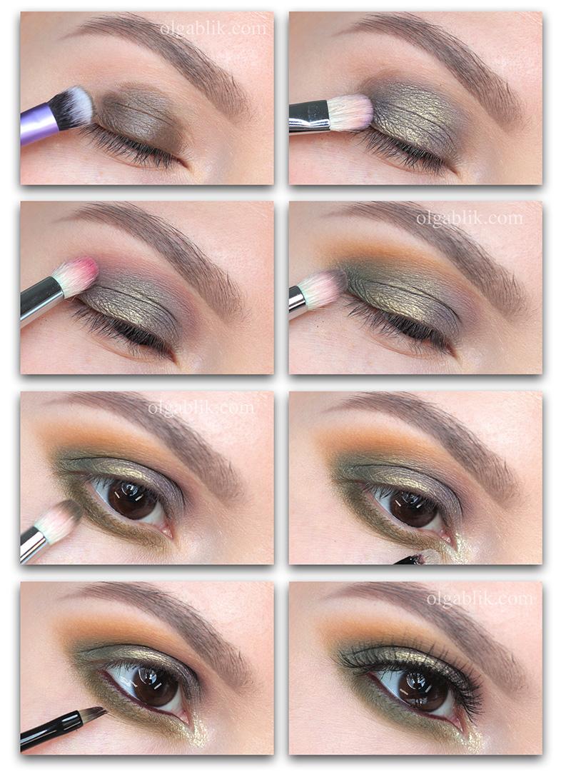 Как наносить тени цвета хаки - пошагово фото макияж