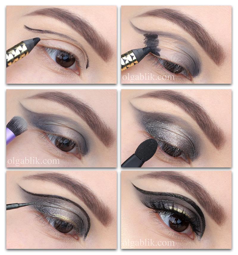 стрелки на глазах, как рисовать стрелки, как рисовать стрелки пошагово