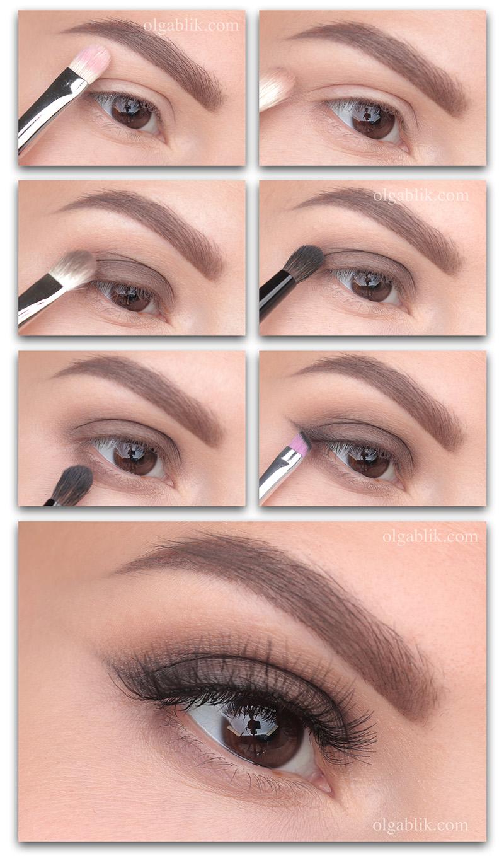 Растушеванные стрелки тенями - пошаговый макияж