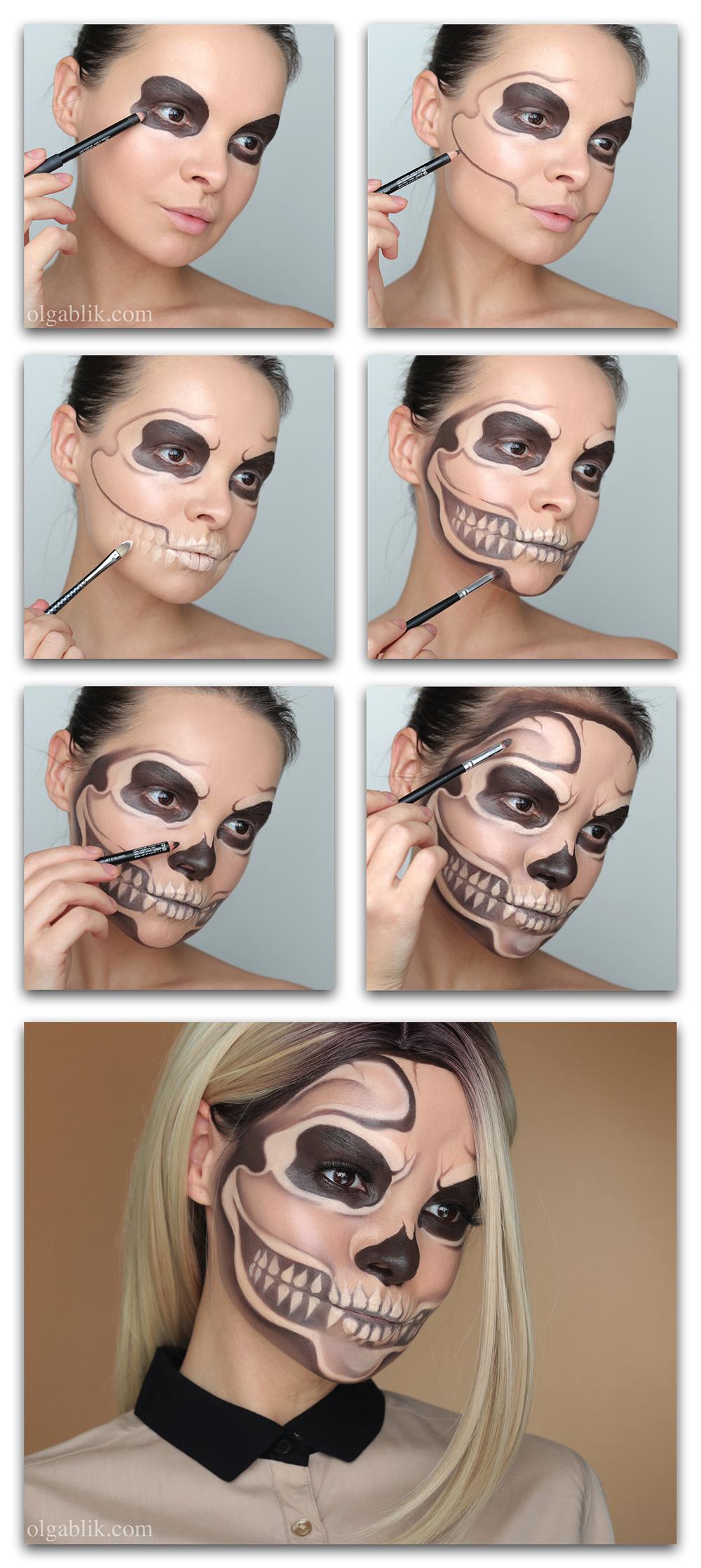 Как сделать макияж скелета на Хэллоуин, грим на Хэллоуин фото, макияж на Хэллоуин для девушек
