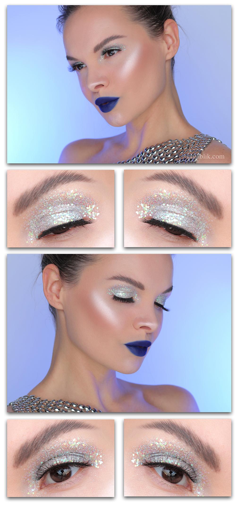 Макияж с блестками для карих глаз, макияж с блестками пошагово, макияж с глиттером фото