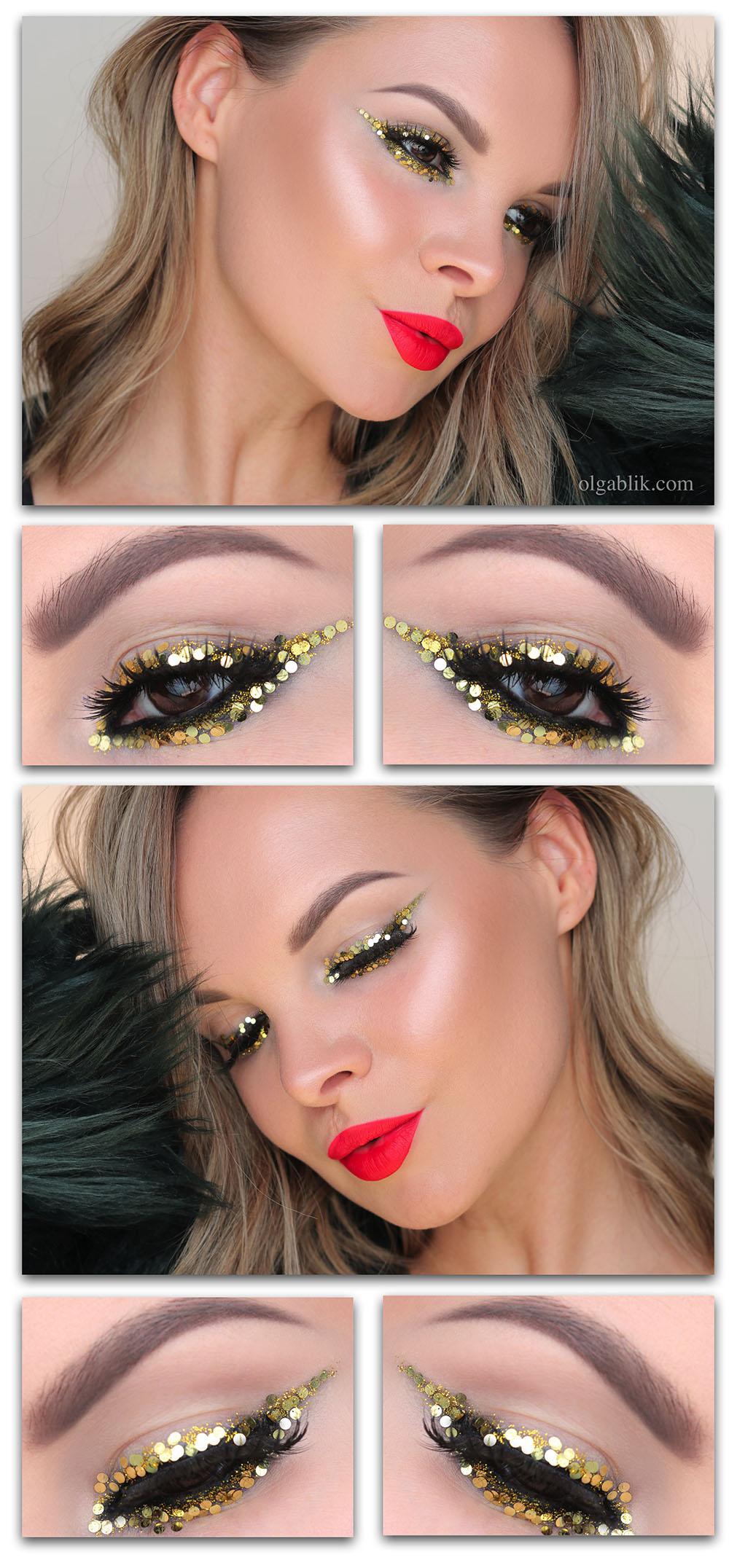 Новогодний макияж с золотыми блестками на глазах