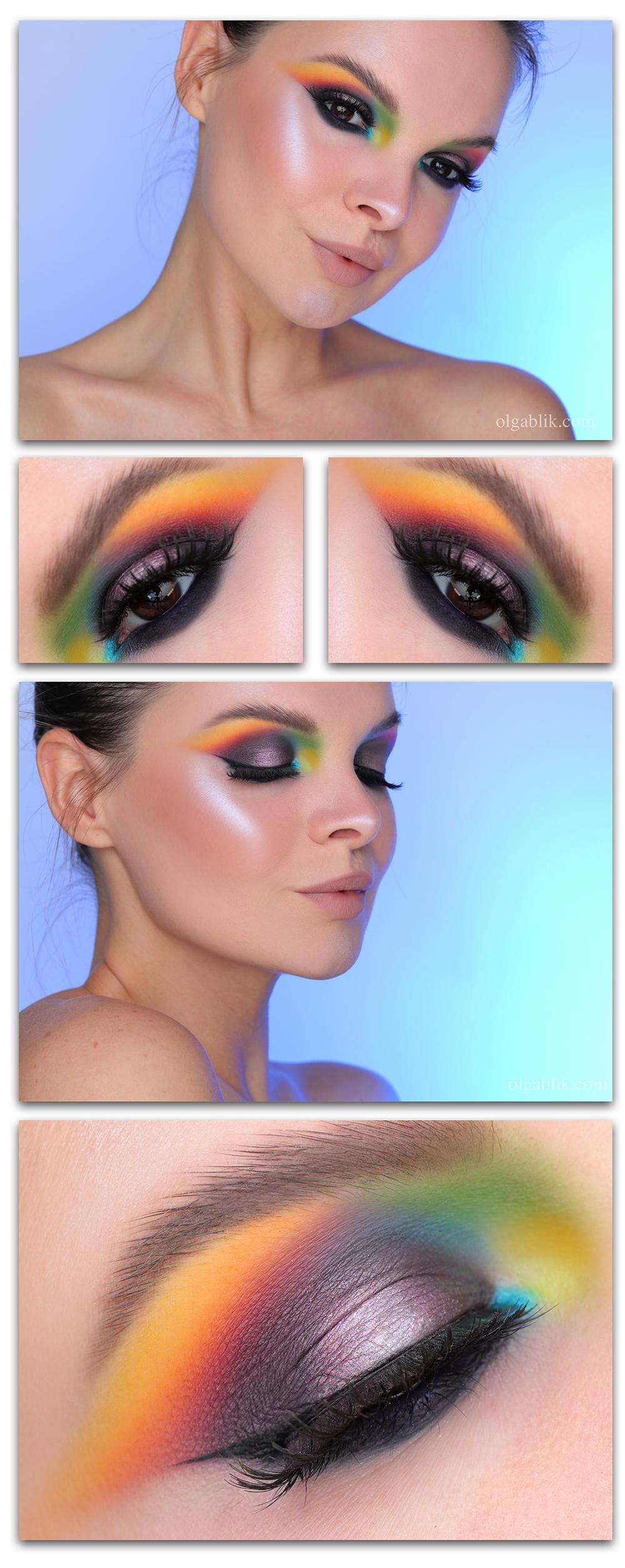 Цветной макияж со стрелками на глазах, макияж со стрелками, цветной макияж глаз