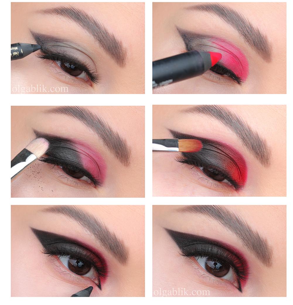 Макияж с красными тенями, Макияж с красными тенями для карих глаз, красные тени для глаз как использовать