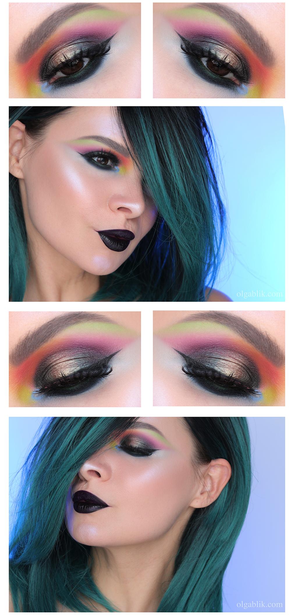 Цветной макияж со стрелками, Макияж и стрелки на глазах, Макияж со стрелками фото