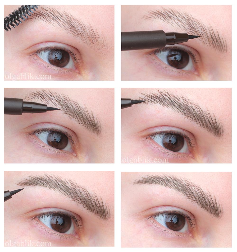 Модные брови нарисованные фломастером для бровей фото-урок поэтапно